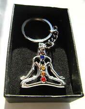 Chrome Metal Yoga Keyring Key Fob Yoga Figure Height 35mm Gift Boxed