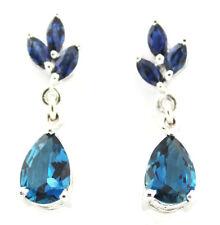 London Blue Topaz (Pear) Kanchanaburi Blue Sapphire Earrings