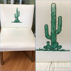 Vintage Mid Century Retro Chair Cactus Southwestern Desert Western Cowboy COOL