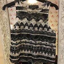 Topshop Black & White Lace Design Sleeveless Top (Petite)
