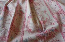 Vintage French Indienne Floral Stripe Cotton Fabric #1~ Blue Pink Lavender