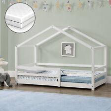 Kinderbett mit Rausfallschutz + Matratze 80x160cm Haus Holz Weiß Bettenhaus Bett