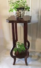 Beautiful wood plant stand. Tall table for plants with mahogany veneer.  Lovely!