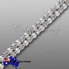 2 row 4mm stones- Pearl Crystal Rhinestone Diamonate Cake Trim Ribbon Mesh Chain