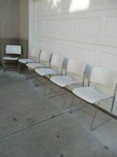 6 Vintage David Rowland 40/4 Mid Century Modern Chrome & White Stacking Chairs