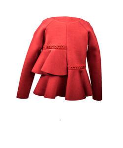 Ermanno Scervino Oberteil Neopren rot Sweatshirt Langarmshirt Bluse NP €153