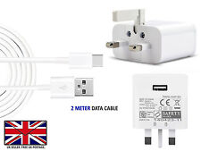 Fast UK Mains Wall Adapter Plug Charger Power WITH 2 Meter USB Charging Cable