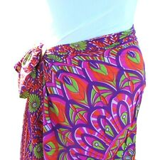 Purple Floral Print Sarong Pareo Scarf Wrap Full Size Rayon Beach Cover up