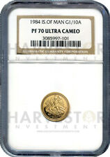 1984 ISLE OF MAN 1/10 OZ. PROOF GOLD ANGEL - NGC PF70 ULTRA CAMEO - HARD TO FIND