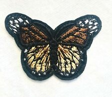 Embroidered Butterfly Applique Brown Black Iron On DIY Hot Fix 2.75""
