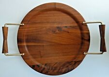 """New listing Mid Century Solid American Walnut 12"""" Round Serving Tray w Brass Wood Handles"""