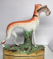 Antique 1850s Greyhound Whippet Hunting Figurine Staffordshire Porcelain Pottery