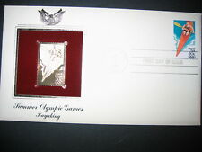 1984 SUMMER OLYMPIC GAMES KAYAKING 22kt Gold GOLDEN Cover Replica Stamp