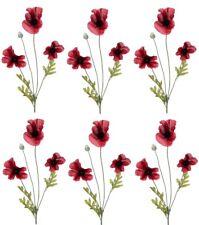 6 x Artificial 63cm Poppy Sprays - Remembrance Day Poppies