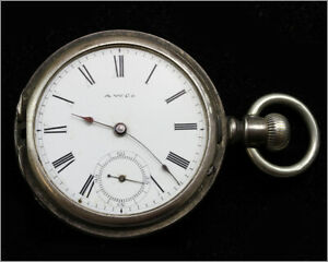 Ticking - Antique 1886 WALTHAM 7J 14s Bond St. Silver Pocket Watch - For Service