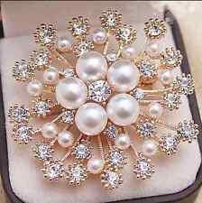 WOMEN Imitation Pearl Crystal Flower Bouquet Brooch Wedding FASHION Brooch Pin