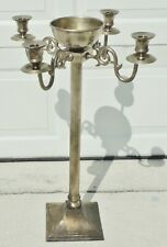 """Large Antique/Vtg Gothic 30"""" Silverplate Standing Holy Water Font Candelabra"""