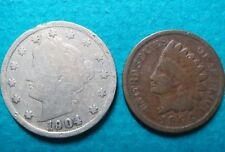 >1904, Lot of (2) Vintage 1904 LIBERTY HEAD NICKEL/LINCOLN WHEAT, Fine Coins #5