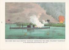 """1974 Vintage Currier & Ives CIVIL WAR """"NAVY DESTROYING REBEL SHIP"""" COLOR Litho"""
