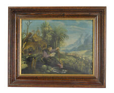 St. Fiacre Ireland Reading in Garden 18th Century Oil Painting on Copper Plate