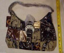Womens G Style Satchel Hand Bag BROWN Black TAN Beige New Animal Print patch