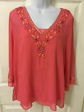 Women's Daisy Fuentes Tunic Embroidered Salmon Blouse M