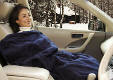 12  VOLT~CARS~HEATED TRAVEL~BLUE BLANKET FLEECE~POLAR WARM HEATER WINTER COVER