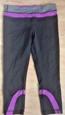 LULULEMON RUN INSPIRE CROP PANTS Black w Violet & Heathered Gray size 8 EUC Gym