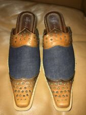 Bamboo Denim and Faux Brown Leather Pointed-Toe Western Mules/Boots/Clogs 8.5M