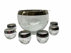 Dorothy Thorpe Mad Men Glass Punch Bowl Set W/Roly Poly Silver Band MCM 13 Piece