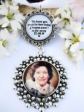 Photo Memory Bouquet Charm Bride Gift Wedding Personalised Heaven Quote Date