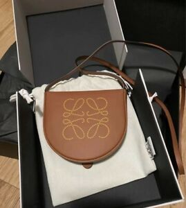 Brand New Authentic Loewe Heel Leather Pouch In Soft Calfskin Tan Color RRP$915