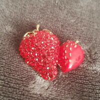 Beautiful Red Rhinestone Enamel Strawberry Fruit BROOCH Pin Costume Jewellery