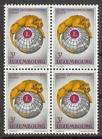 Luxembourg 1967 Sc# 451 set  Lion Globe Lions international emblem  block 4 MNH