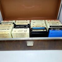 Lot of 24 Vintage 8-track Cassettes With Hard Case, The Monkees, Grease, etc...