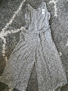 Girls justice tie waist cozy super soft jumpsuit size 8 new heathered grey