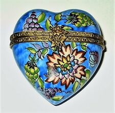 """Limoges Box - Rochard - Blue Floral Heart - Exotic Flowers - Top Signed """"Mc"""""""