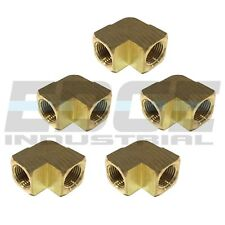 """5 Pack Brass Elbow Fitting 90 Degree 1/2"""" Female Npt Pipe Thread Tubing Air Fuel"""
