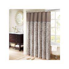 Madison Park Aubrey Natural/Blue Jacquard Shower Curtain New