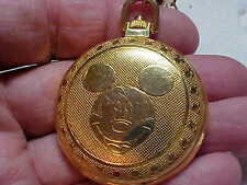 MICKEY MOUSE POCKET WATCH HUNTING CASE GOLD PLATE WITH CHAIN NICE