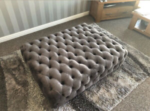 EXTRA LARGE CHESTERFIELD FOOTSTOOL DEEP BUTTONED PLUSH GREY 36x24