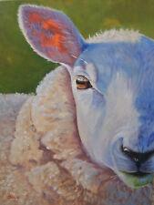 ORIGINAL SIGNED ART OIL PAINTING FARM RANCH ANIMAL SHEEP PASTORAL BUCOLIC