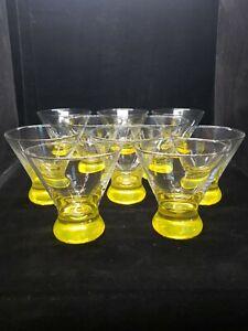 "Vintage Seamless Martini Glasses Yellow Bottom Set of 10. 8 oz 4"" Tall x 4"" Wide"