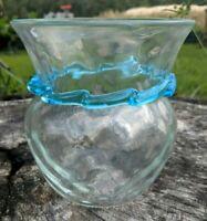 Vintage Art Glass Vase Hand Blown with Aqua ribbon glass trim 6 Inches tall