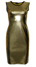 Metallic Shiny Pvc Golden Gold Grease Wetlook Bodycon Midi Pencil Dress Fashion