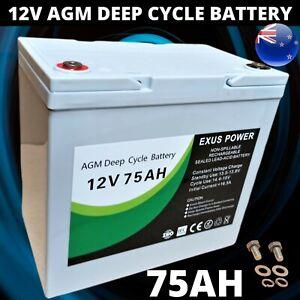 12V 75Ah AGM Deep Cycle Battery rechargeable SLA Alarm Sealed Marine Camp Buggy