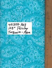 "49374-A03, 108"" EXTRA WIDE QUILT BACKING, BY THE YARD,  PAISLEY - AQUA/TURQUOISE"