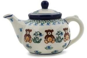 Polish Pottery Stoneware CA Individual Teapot (120-1137) Teddy Bear