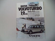 advertising Pubblicità 1982 VOLVO TURBO