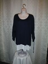 3/4 Sleeve Sweater Blouse XL Simply Vera Vera Wang Navy White